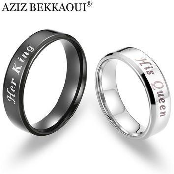Cool AZIZ BEKKAOUI Her King & His Queen Couple Rings Stainless Steel Rings Promise Bands Free Engrave Wedding Jewelry DropshippingAT_93_12