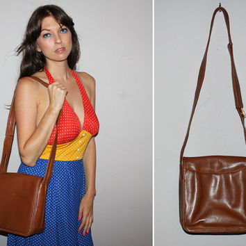 Vintage 80s MARK CROSS LEATHER Shoulder Bag / Boho Messenger Bag / Cross Body Purse / Cognac Brown Leather / Designer, Luxury Purse