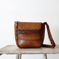 1970s Leather Bag //  Vintage Boho Purse