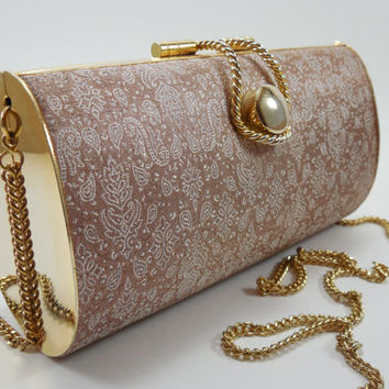 Vintage Gold Metal Minaudiere Clutch Purse by Regal Beige Dark Champagne Cream Ivory Pearl Paisley Brocade Satin Clutch Purse Convertible