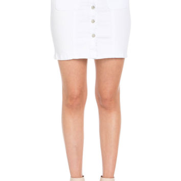 Button Up White Jean Mini Skirt