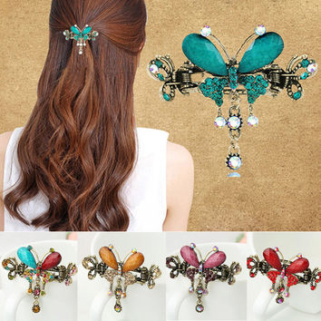 Retro Vintage Women Girl Crystal Butterfly Bow Flower Court Hairpins Drop Barrettes Luxury Tiara Hair Clip Hair Accessories