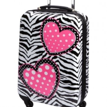 Zebra Heart Suitcase | Girls Travel Luggage Accessories | Shop Justice