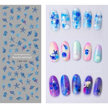 Nail Water Decal Mermaid Starfish Shell Pattern Colorful Transfer Sticker Summer Ocean Series Manicure Nail Art Decoration