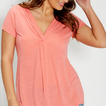 plus size twist front tee with lace | maurices