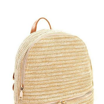 Natural Woven Backpack