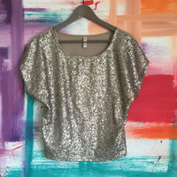 Xhilaration Gold/Silver Sequin Top  (Small/Indie Brands)