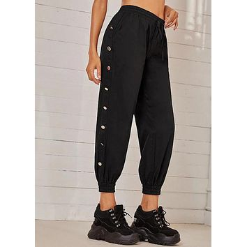 Pants Women's Joggers Stretch Waistband Button Solid Long