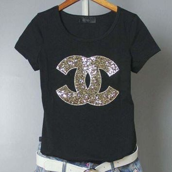 LMFUP0 Chanel Fashion Sequins Logo Short Sleeve Shirt Top Tee