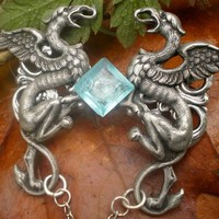 Griffin's Treasure necklace - High Fantasy, mythical creatures with blue crystal, pendant, statement necklace