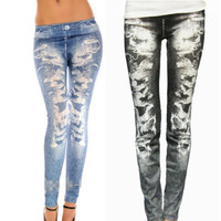 Stretch Polyster Printed Seamless Leggings