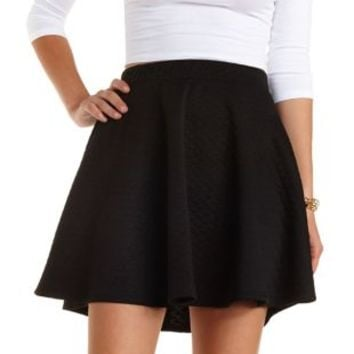 Quilted Skater Skirt by Charlotte Russe - Black
