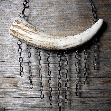 Deer Antler Necklace - Naturally Shed Boho Deer Antler Necklace, Hand Painted Handmade Deer Antler Tip Necklace With Gold Silver Chain