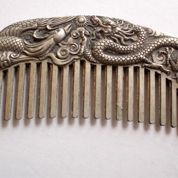 Chinese Tibetan Miao Silver Mythical Kirin DRAGON PHOENIX Comb 5 in