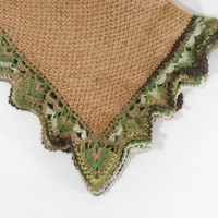 Knitted Baby Blanket - Brown with Green