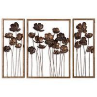 "Set of 3 Uttermost Tulips 40"" Wide Metal Wall Art - #X8488 