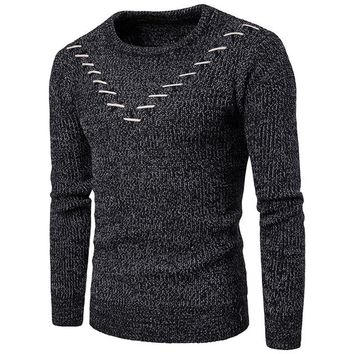 Solid Color Sweater Men Fashion V Pattern Men's Pullovers Casual O Neck Knitted Sweater Long Sleeve Slim Fit Sweater