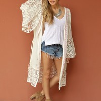 West Coast Wardrobe  Rain Dancer Embroidered Kimono in Natural