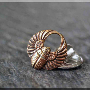 Brass Scarab Tie Tac, Lapel Pin, Winged Scarab Brooch, Gift for Him, Gift Under 10 Dollars, Tie Tack, Egyptian Accessory, Unisex Pin
