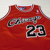 Michael Jordan Chicago Bulls 23 Super Rare Red Jersey NBA Jordan Basketball Bulls Jersey All Stitched and Sewn Jersey Any Size S - XXL