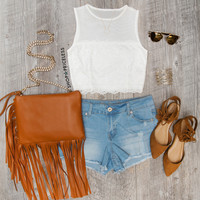 Helena Crop Top - White