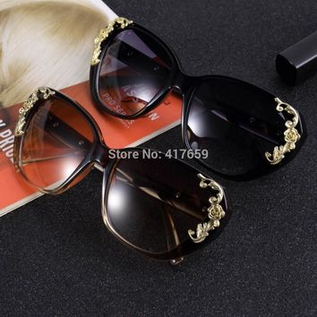Women's Sunglasses Gold Rose Cat Eye vintage