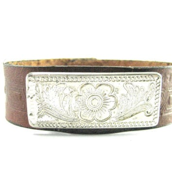 Flower  Leather  Bracelet   Brown Leather  Cuff  Bright Silver Concho, Leather Cuff Bracelet  Country Western Bracelet