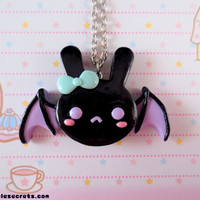 Pastel Creepy Cute Bat Bunny Necklace