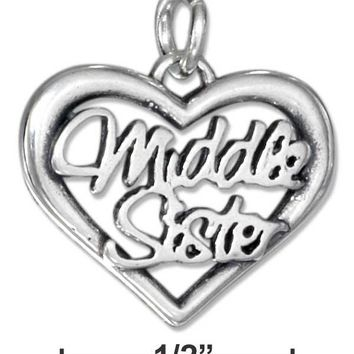 STERLING SILVER OPEN HEART MIDDLE SISTER CHARM