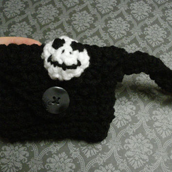Jack Skellington inspired crochet wrist wallet - white - black - nightmare - christmas - fall - Holiday - toddler - kids- adults - Halloween