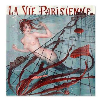 Vintage Paris Mermaid Shower Curtain> Coastal, Vintage and Urban Chic Shower Curtains> Rebecca Korpita Coastal Design