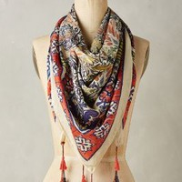 Aini Silk Scarf by Anthropologie Red Motif One Size Scarves