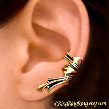 Roman ear cuff gold brass earring jewelry  Left by RingRingRing