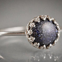 CONSTELLATION - Gemstone ring with blue Goldstone (Blue sunstone) in Argenitium Sterling Silver - Made in your size