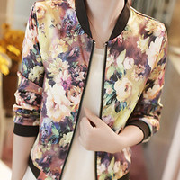 Vintage Floral Long Sleeve Zipper Jacket