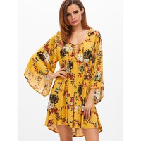 Multicolor Bell Sleeve Lace Up Pleated Shift Dress