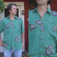 Vintage 90's Seapunk New Wave Print Avant Garde Style Button Up Dress Shirt