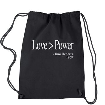 Love Is Greater Than Power Quote Drawstring Backpack