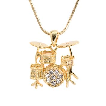 3D Drum Necklace Gold Plated Finish