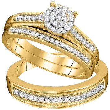 10kt Yellow Gold His & Hers Round Diamond Cluster Matching Bridal Wedding Ring Band Set 3/8 Cttw - FREE Shipping (US/CAN)