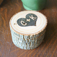 Rustic Wedding Ring Box Personalized Heart Ring Holder Wood Burned
