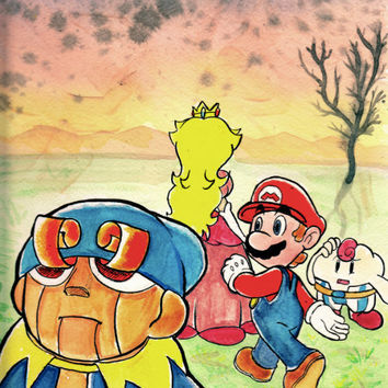 Super Mario RPG 9x12 Watercolor Painting