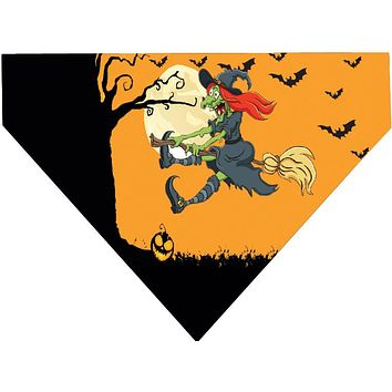 Halloween Over the Collar Dog Bandana - Flying Witch