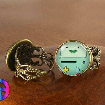 Adventure Time (2) BMO Beemo Womens Adjustable Ring Rings Jewelry Gift