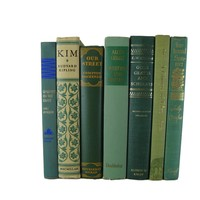 Green Decorative Books for Home Decor, S/7