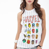 FOREVER 21 Striped Marvel Muscle Tee White/Multi