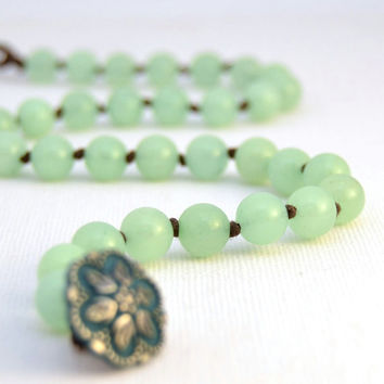 Mint green bracelet. Beaded layering knotted bracelet. Jade double wrap bracelet