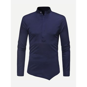 Men Plain Asymmetric Hem Blouse