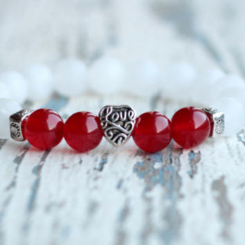 Family bracelets love bracelet heart bead bracelet red white bracelet gift for girl Women for loved  friendship bracelet cute summer jewelry