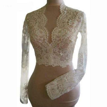 Lace Wedding Jackets Long Sleeves V-neck Lace  Bridal Boleros
